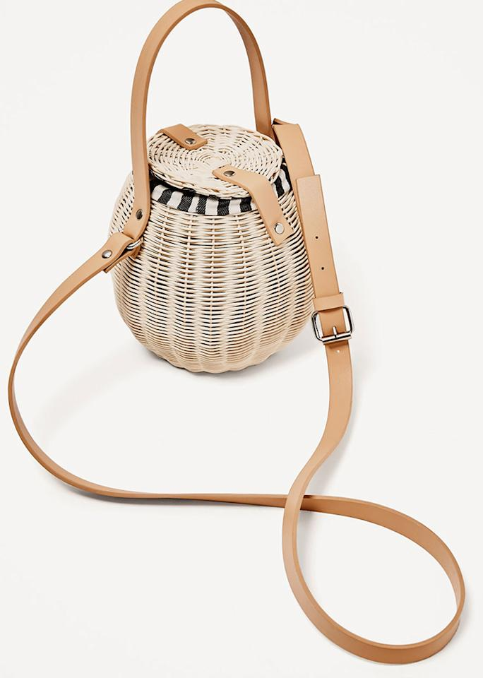 "Zara Raffia Bucket Bag, $59.90; at <a rel=""nofollow"" href=""https://www.zara.com/us/en/woman/bags/view-all/raffia-bucket-bag-c819022p4227026.html"" rel="""">Zara</a>"