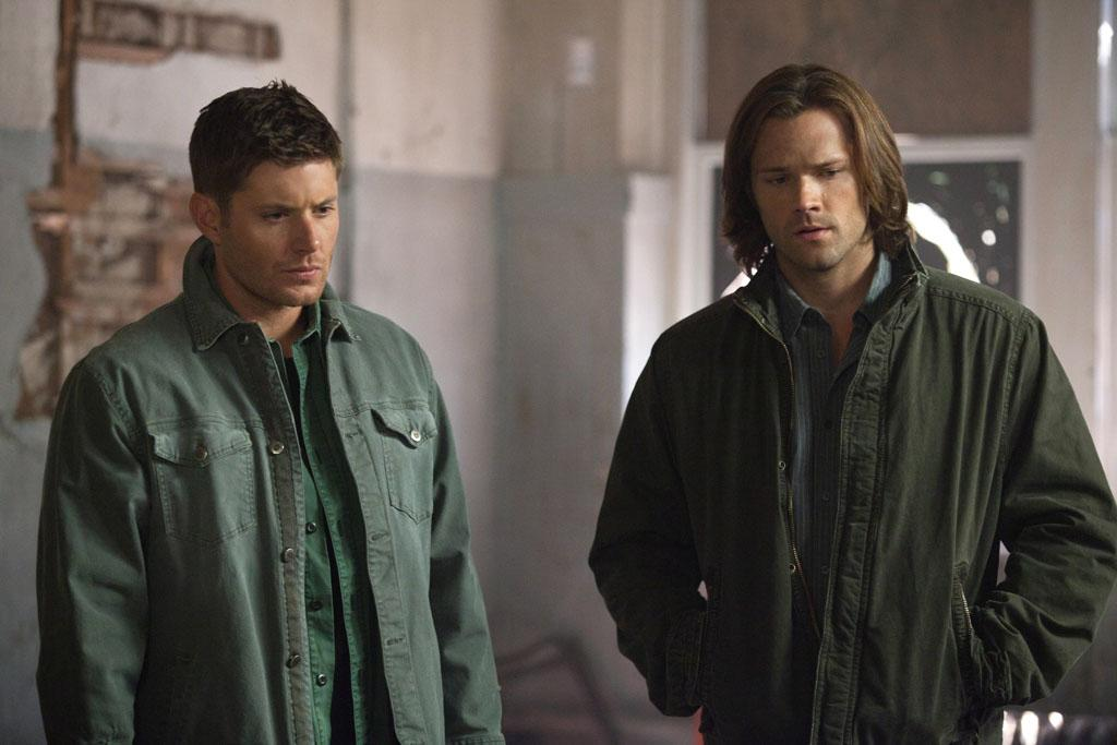 "Jensen Ackles as Dean and Jared Padalecki as Sam in the ""Supernatural"" episode, ""What's Up, Tiger Mommy?."""