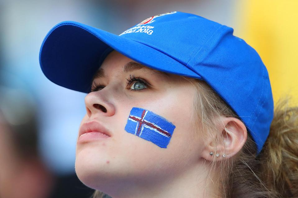 <p>A female fan of Iceland looks on during the 2018 FIFA World Cup Russia group D match between Argentina and Iceland at Spartak Stadium on June 16, 2018 in Moscow, Russia. (Photo by Robbie Jay Barratt – AMA/Getty Images) </p>