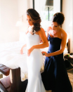 """<p>While she wasn't her official bridesmaid, VB performed some pretty important duties at pal Eva Longoria's wedding, both designing and fitting the star in her wedding dress for her big day. <i>(Instagram/<a rel=""""nofollow noopener"""" href=""""https://www.instagram.com/victoriabeckham/"""" target=""""_blank"""" data-ylk=""""slk:victoriabeckham"""" class=""""link rapid-noclick-resp"""">victoriabeckham</a>)</i></p>"""
