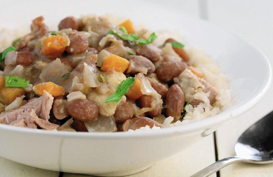 "<p>If you're looking to add a little heat to your dinner table, the people of Georgia have the right idea. In this recipe, red beans and rice are given some spice with jalapenos and red hot sauce. The Southern dish is Georgia's top recipe of the year, with <a href=""https://www.thedailymeal.com/recipes/cinnamon-trail-mix-recipe?referrer=yahoo&category=beauty_food&include_utm=1&utm_medium=referral&utm_source=yahoo&utm_campaign=feed"" rel=""nofollow noopener"" target=""_blank"" data-ylk=""slk:Chex Mix"" class=""link rapid-noclick-resp"">Chex Mix</a> coming in second place.</p> <p><a href=""https://www.thedailymeal.com/recipe/red-beans-and-rice?referrer=yahoo&category=beauty_food&include_utm=1&utm_medium=referral&utm_source=yahoo&utm_campaign=feed"" rel=""nofollow noopener"" target=""_blank"" data-ylk=""slk:For a Red Beans and Rice recipe, click here."" class=""link rapid-noclick-resp"">For a Red Beans and Rice recipe, click here.</a></p>"