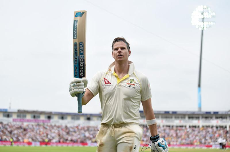 Steven Smith salutes the crowd as he leaves the field after a century at during day four of the 1st Ashes Test in Birmingham, England. (Photo by Gareth Copley/Getty Images)