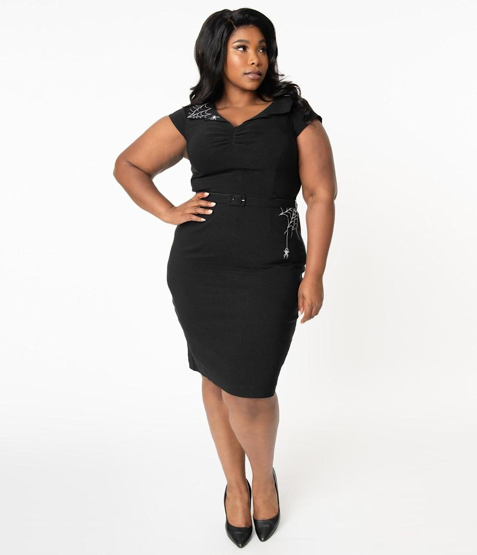 <p>You'll look too cute to spook in this <span>Hell Bunny Plus Size Black Miss Muffet Pencil Dress</span> ($92).</p>