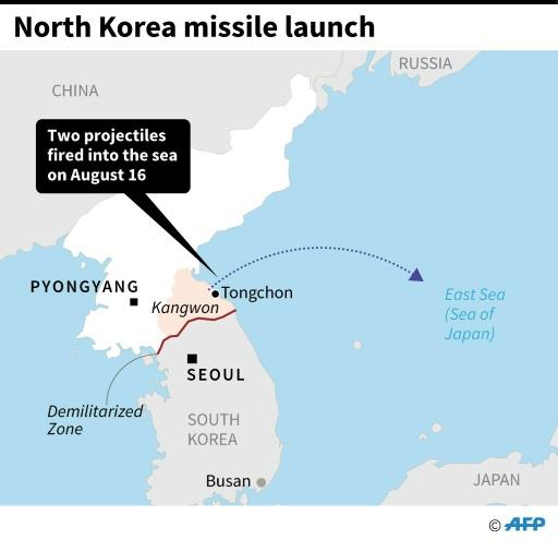 Map showing Kangwon Province in North Korea from where two projectiles were fired into the East Sea, or the Sea of Japan, on Friday