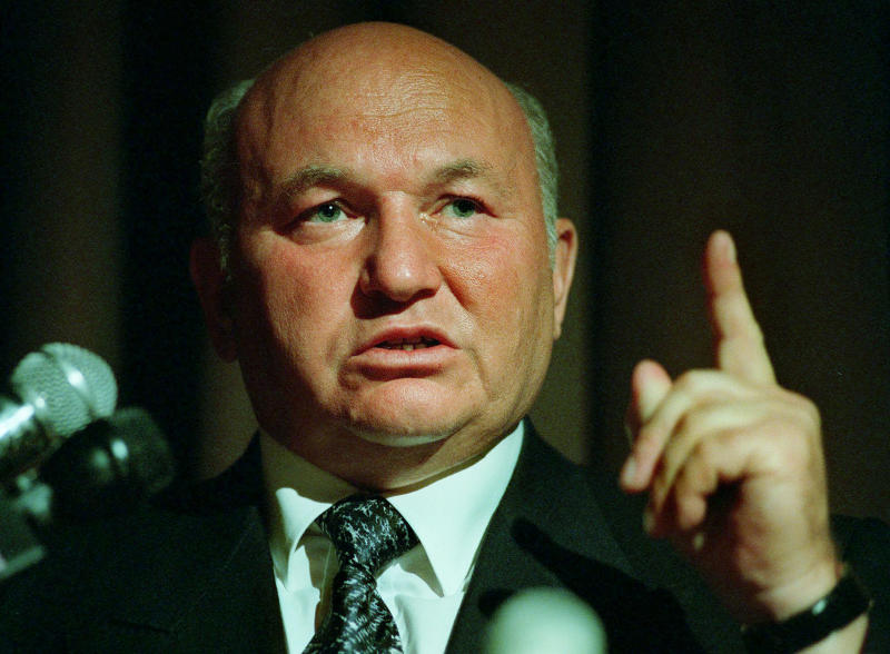 FILE - In this Monday, July 28, 1997 file photo, Moscow mayor Yuri Luzhkov speaks at the International Conference for Progress and Cooperation Dedicated to the 850th anniversary of the City of Moscow, in Beverly Hills, Calif. The former mayor of Moscow and one of the founders of Russia's ruling United Russia party, Yuri Luzhkov, has died at the age of 83.  Russia's Ren TV channel reported Tuesday Dec. 10, 2019, that Luzhkov died in Munich, where he was undergoing heart surgery. (AP Photo/E.J. Flynn, File)