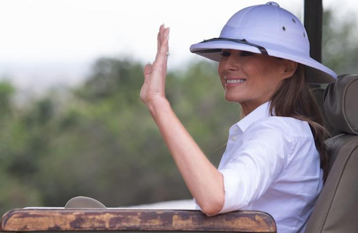 "<div class=""inline-image__caption""><p>Melania Trump waves as she travels in a vehicle while on a safari at The Nairobi National Park in Nairobi on Oct. 5, 2018.</p></div> <div class=""inline-image__credit"">SAUL LOEB/AFP via Getty Images</div>"