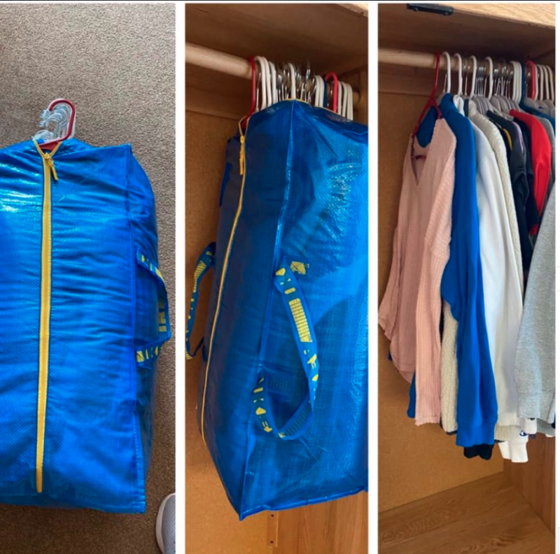 Using an IKEA storage bag to pack up a wardrobe
