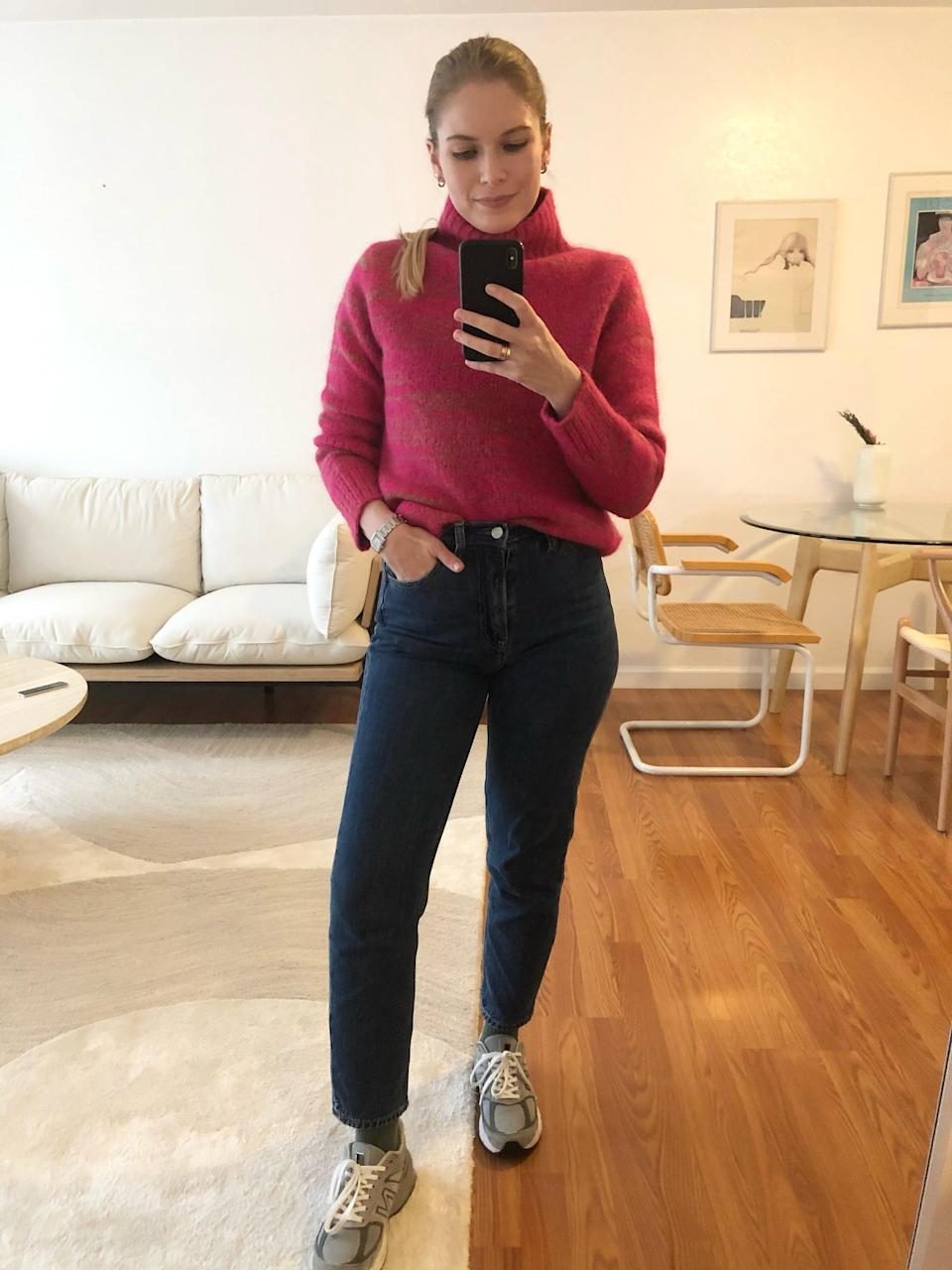 <p>For the days I'm seeing friends or running errands, the <span>Italian Spacedye Sweater</span> ($110) is perfect with jeans and sneakers.</p>