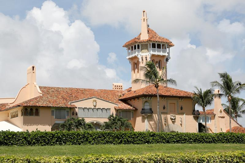 President Donald Trump's Mar-a-Lago mansion is shown with shutters on the windows Friday after a mandatory evacuation order went into effect on the barrier island of Palm Beach, Florida. (Reuters Photographer / Reuters)