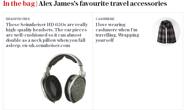 In the bag | Alex James - favourite travel accessories