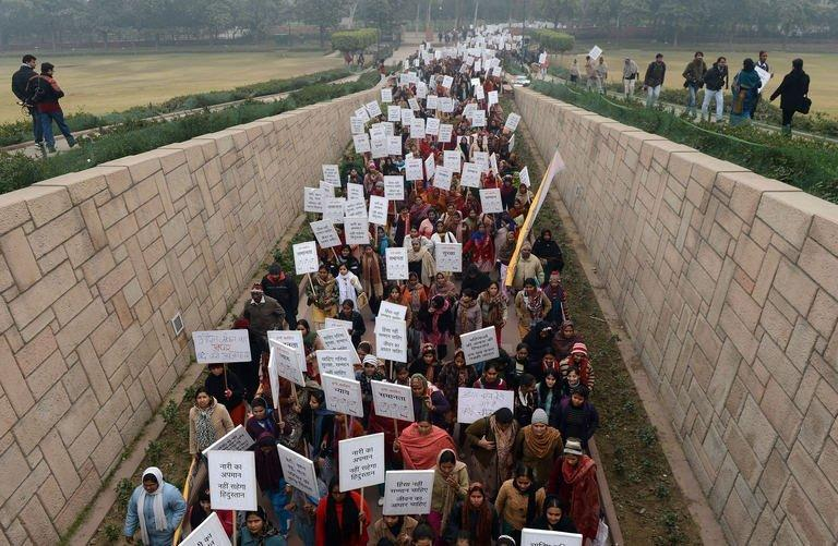 Indian women a march in New Delhi to show solidarity after a deadly gang rape on January 2, 2013