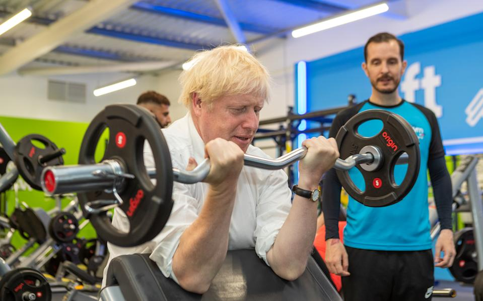 Prime minister Boris Johnson lifting weights at a branch of the Gym Group in his South Ruislip constituency. Photo: Gym Group via PA