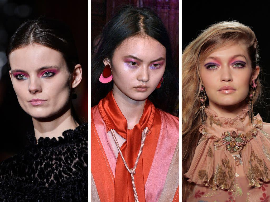 <span>Pink eye makeup has been very popular</span> for a while now, and it looks like the trend isn't going anywhere for the coming fall and winter months. This time, though, it gets an update with the addition of some purple shadow, as seen on the runways at Christian Siriano, Peter Pilotto and Anna Sui.<br><br><i>(Left to right: Christian Siriano, Peter Pilotto, Anna Sui)</i>