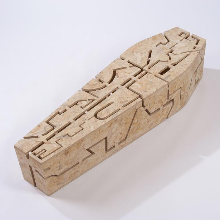 A wooden coffin with a geometric design. (Photo: Caters News)