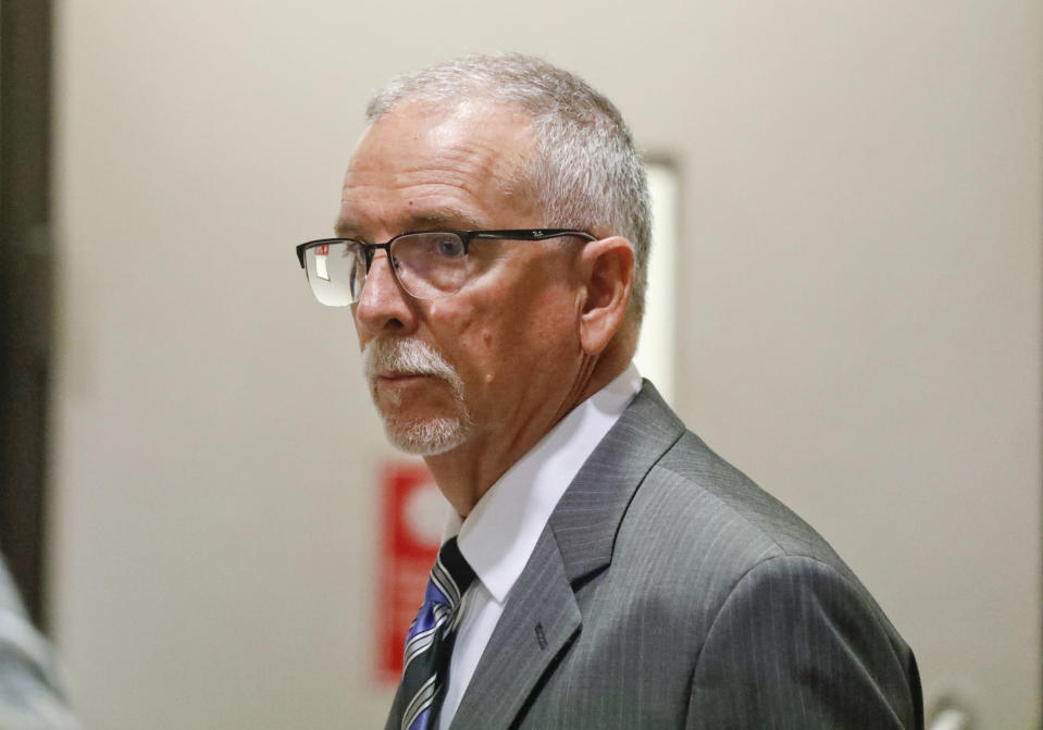 FILE - In this Wednesday, June 26, 2019 file photo, UCLA gynecologist James Heaps appears in Los Angeles Superior Court. The prestigious University of California system has reached a proposed $73 million settlement with seven women who accused a former gynecologist of sexual abuse. As part of the class-action lawsuit, more than 6,600 patients of Dr. James Heaps could receive part of the settlement — even if they have not formally accused the former University of California, Los Angeles, gynecologist of abuse. A federal judge must approve the proposed agreement filed Monday, Nov. 16, 2020. (Al Seib/Los Angeles Times via AP, Pool, File)