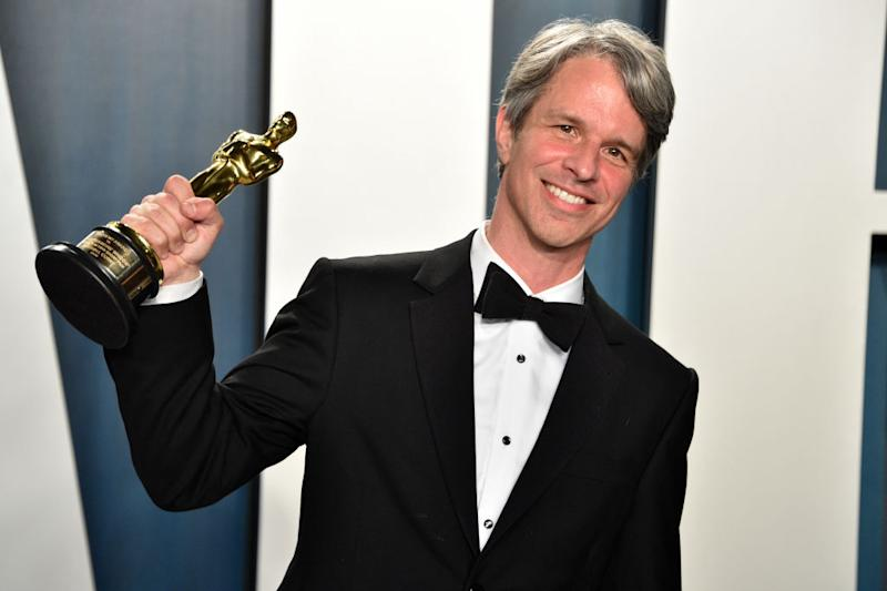 Writer and director, Marshall Curry with his Oscar. Source: Getty