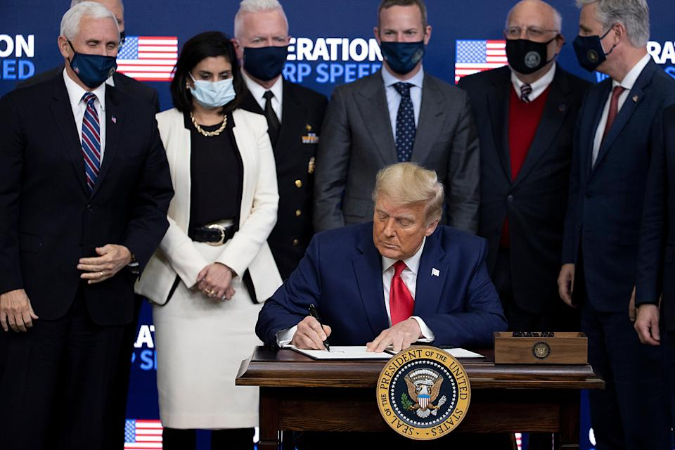 President Donald Trump signed an executive at the Operation Warp Speed Vaccine Summit on December 08, 2020 in Washington, DC.  (Photo by Tasos Katopodis/Getty Images) (Getty Images)