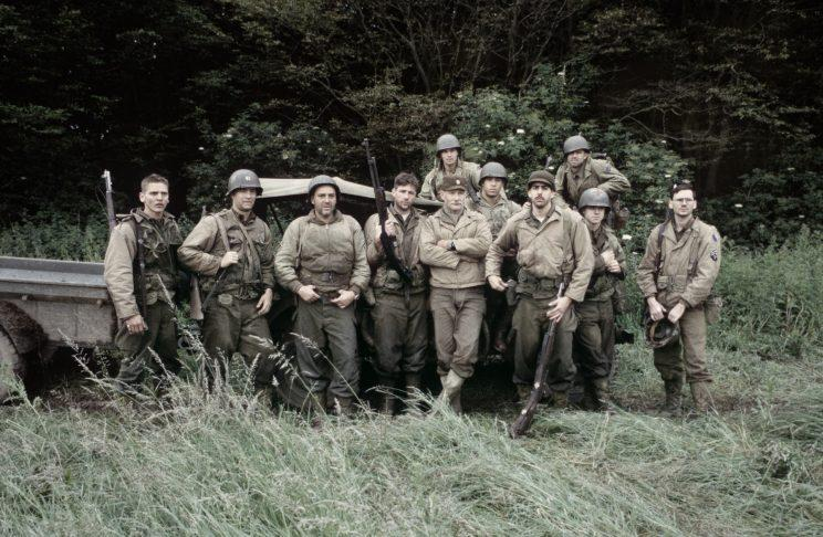 Vin Diesel (center-right) with the cast of Saving Private Ryan. (Photo: Paramount)