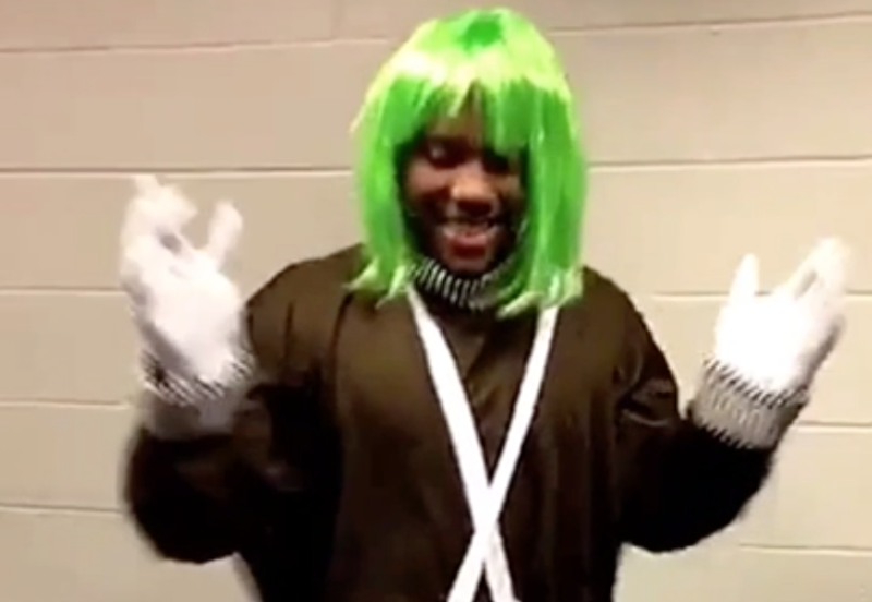Just as you suspected, Kay Felder dressed as an Oompa Loompa on Wednesday night. (Snapchat)