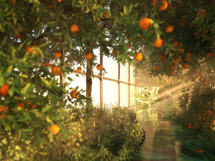 a rendering of the G Train's garden with orange trees surrounding seating