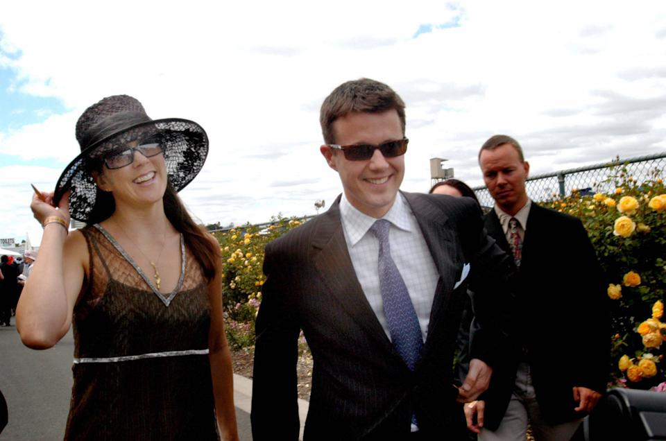 <p>October 2002: Prince Frederik his Tasmanian-born girlfriend Mary Donaldson step out together at the Melbourne Cup, two years after meeting during Sydney's Olympic Games. Photo: Getty Images.</p>