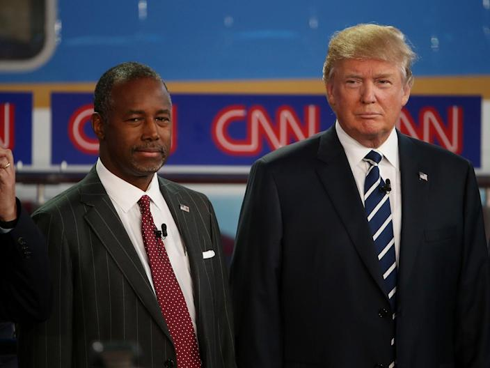 Ben Carson and Trump as rivals in 2016Getty