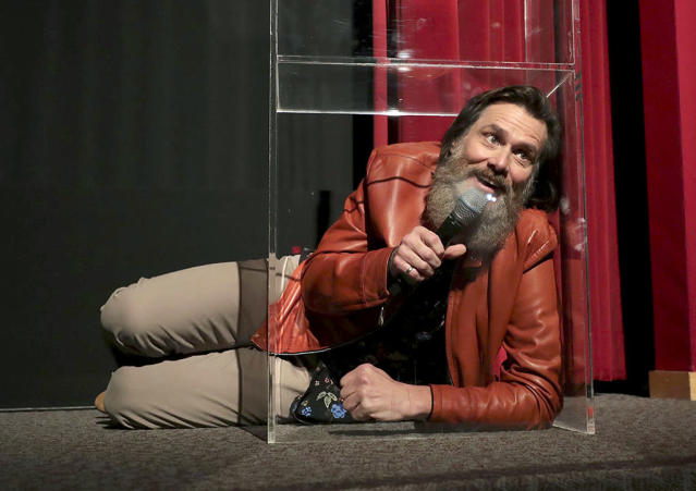 """<p>Carrey was up to his old tricks at the L.A. premiere of Showtime's <i>I'm Dying Up Here</i>, a show that he's executive producing. The <i>Ace Ventura: Pet Detective</i> star was busy this week, as he (and <a href=""""https://www.yahoo.com/celebrity/jim-carrey-joins-crazy-man-beard-club-154027918.html"""" data-ylk=""""slk:his extreme beard"""" class=""""link rapid-noclick-resp"""">his extreme beard</a>) publicly defended <a href=""""https://www.yahoo.com/celebrity/jim-carrey-defends-kathy-griffin-amid-trump-photo-scandal-hold-severed-leg-well-000950143.html"""" data-ylk=""""slk:the controversial photo"""" class=""""link rapid-noclick-resp"""">the controversial photo</a> that Kathy Griffin released this week of her <a href=""""https://www.yahoo.com/celebrity/kathy-griffin-fire-beheading-trump-photo-shoot-222248408.html"""" data-ylk=""""slk:holding the """"bloody head"""""""" class=""""link rapid-noclick-resp"""">holding the """"bloody head""""</a> of President Trump. (Photo: Eric Charbonneau/Invision for Showtime/AP Images) </p>"""
