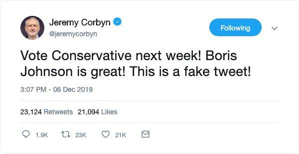 Fake Jeremy Corbyn Tweet (Photo: Twitter)