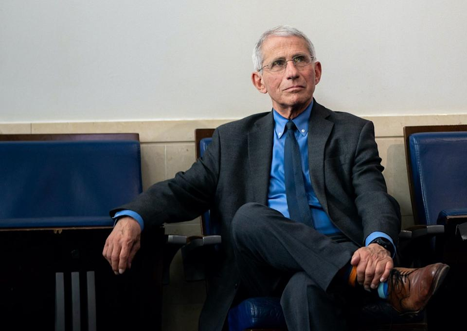 Director of the National Institute of Allergy and Infectious Diseases Dr. Anthony S. Fauci attends a coronavirus update briefing Tuesday, April 7, 2020, in the James S. Brady Press Briefing Room of the White House.