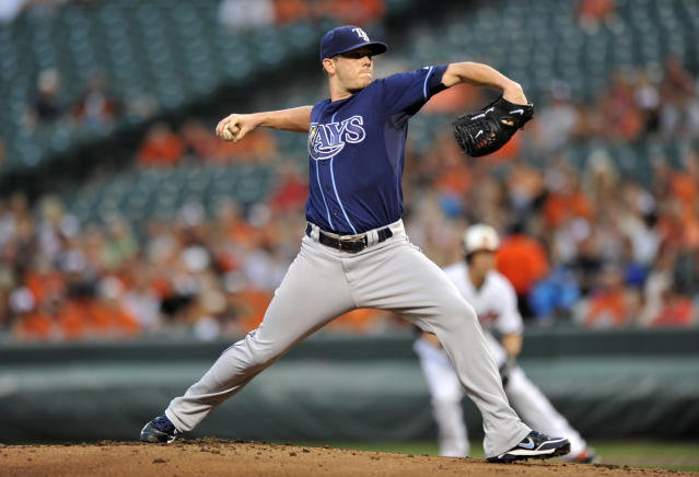 Tampa Bay Rays pitcher Jeremy Hellickson delivers against the Baltimore Orioles in the first inning of a baseball game, Wednesday, Aug. 21, 2013 in Baltimore.(AP Photo/Gail Burton)