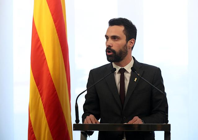 Roger Torrent, Speaker of Catalan regional Parliament, delivers a statement in Barcelona, Spain, March 21, 2018. REUTERS/Albert Gea