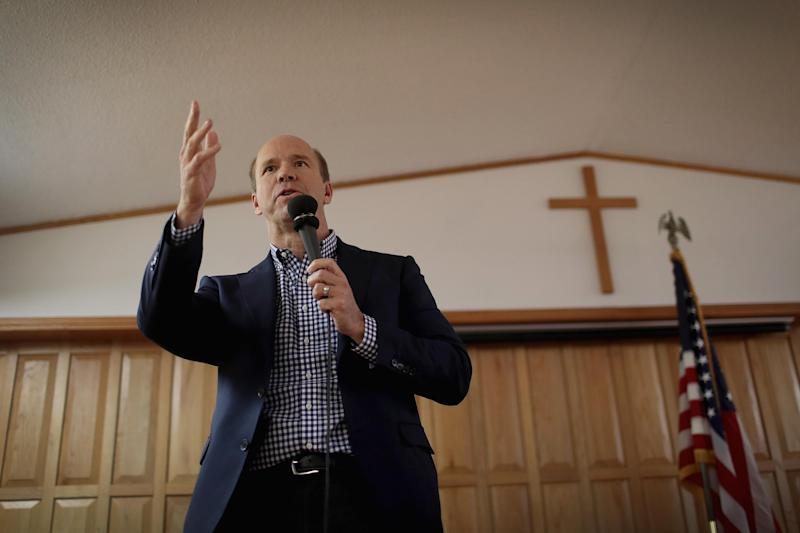 John Delaney speaks to guests at the Monroe County Democrats spaghetti supper at the First Christian Church in Albia, Iowa. | Scott Olson—Getty Images