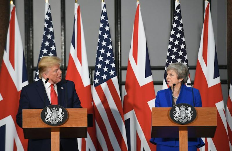 Donald Trump and Theresa May give a joint press conference at the Foreign Office in London (Picture: PA)