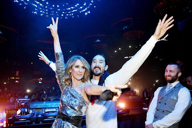 <p>The singer and deejay/record producer goofed around during a concert benefiting the Las Vegas Victims' Fund on Wednesday. The benefit raised more than $1 million at Omnia Nightclub in Caesars Palace. (Photo: Denise Truscello/WireImage) </p>