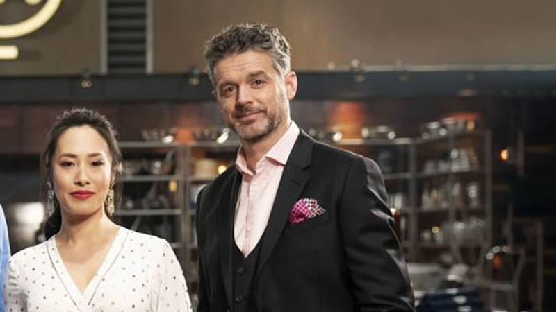 Jock Zonfrillo pictured next to Melissa Leong on first episode of MasterChef Back to Win heartthrob status with fans