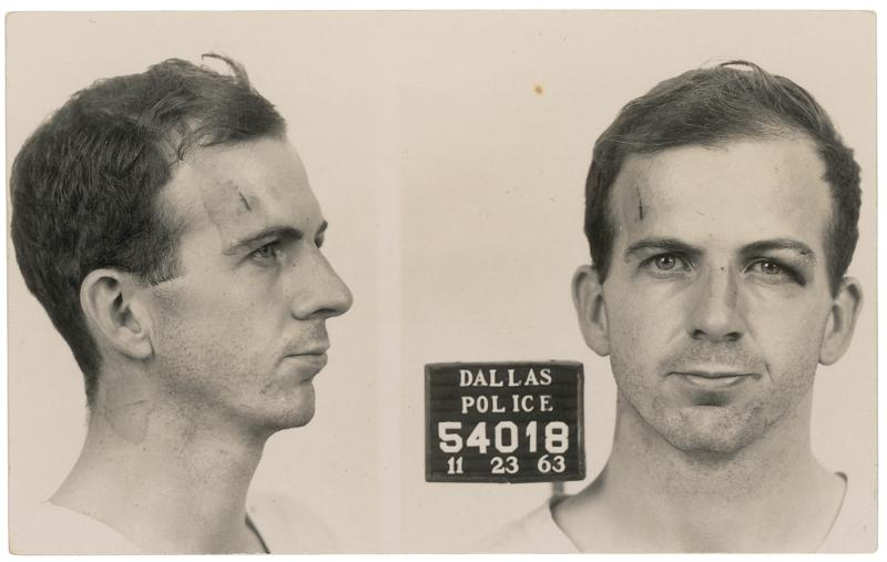 RR Auction image of Vintage glossy Dallas Police Department mug shot photo of Lee Harvey Oswald