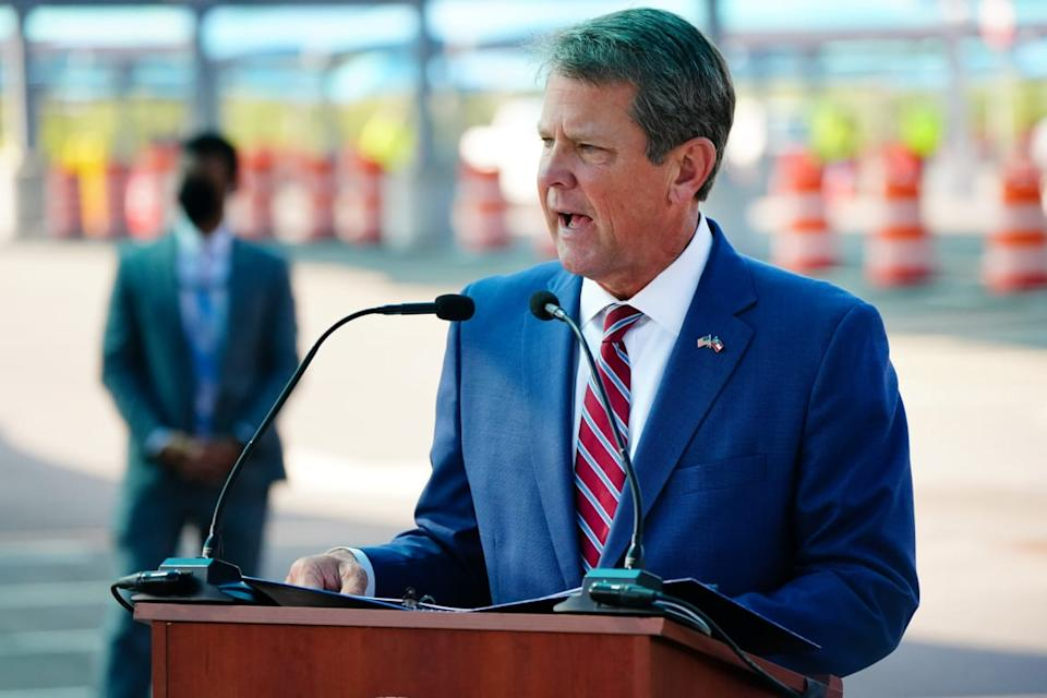 "<div class=""inline-image__caption""><p>Georgia's Republican Governor Brian Kemp has come under fire from President Trump as the White House peddles baseless conspiracies theories about a stolen election.</p></div> <div class=""inline-image__credit"">Elijah Nouvelage/Getty Images</div>"