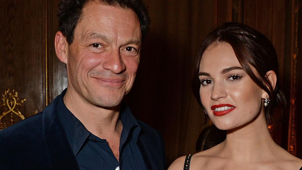 Dominic West and Lily James pose on the red carpet