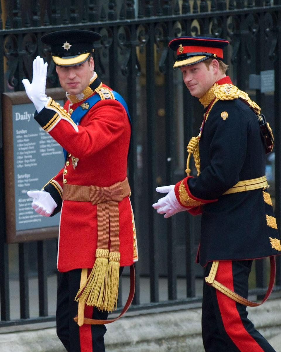 "<p>Ahead of his wedding, Prince William announced that his younger brother Prince Harry was to be his best man. The decision marked a first in royal history.</p><p>Instead of best men, those who accompany the royal groom on day are commonly known as 'supporters'. </p><p>At the time, The Times reported that William opted for the term as it 'had more relevance to his life than the alternative'.</p><p>Harry returned the favour on May 19 2018 at his own wedding to <a href=""https://www.elle.com/uk/meghan-markle-actress/"" rel=""nofollow noopener"" target=""_blank"" data-ylk=""slk:Meghan Markle"" class=""link rapid-noclick-resp"">Meghan Markle</a>. </p><p>William wore the red uniform of the Irish Guards on the day while his brother chose the Captain of the Household Cavalry uniform. </p>"