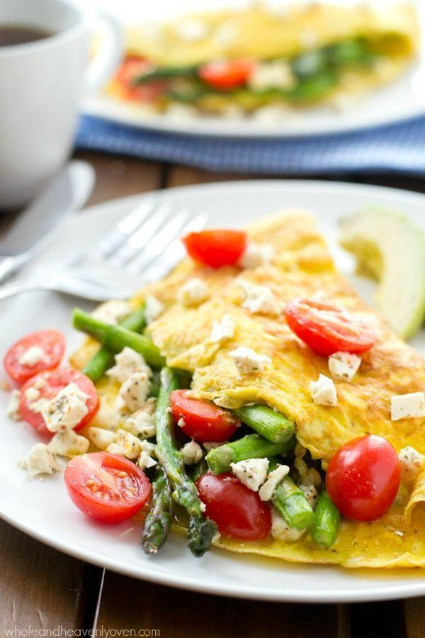 """<p>Stuff your omelette with the best of Spring produce.</p><p>Get the recipe from <a href=""""http://wholeandheavenlyoven.com/2015/04/06/loaded-greek-asparagus-omelets/"""" rel=""""nofollow noopener"""" target=""""_blank"""" data-ylk=""""slk:Whole and Heavenly Oven"""" class=""""link rapid-noclick-resp"""">Whole and Heavenly Oven</a>.<br></p>"""