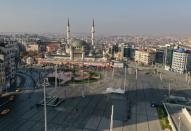 Drone footage reveals Taksim Square during a two-day curfew which was imposed to prevent the spread of the coronavirus disease (COVID-19), in Istanbul