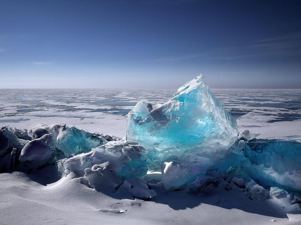 <p>You can't miss the giant shards of ice of lovely turquoise on Lake Baikal in Russia - they just may be the best-looking ice cubes ever.</p>