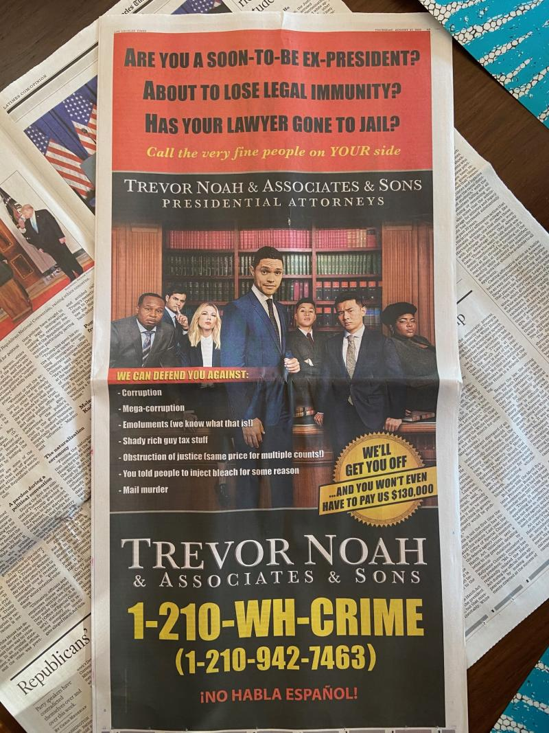 A look at Trevor Noah's ad in the Times.