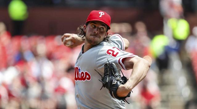 Phillies starter Aaron Nola's no-hitter was broken up in the seventh inning against the Blue Jays.