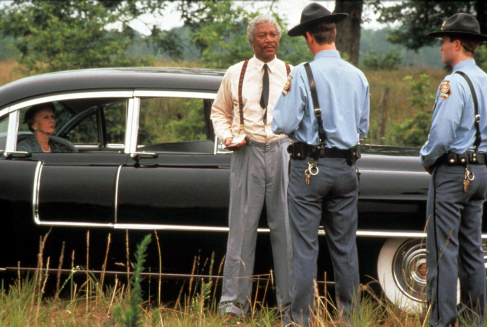 Daisy and Hoke are stopped by Alabama state police in a tense scene written specifically for the movie version of <em>Driving Miss Daisy</em> (Photo: Warner Brothers/Courtesy Everett Collection)