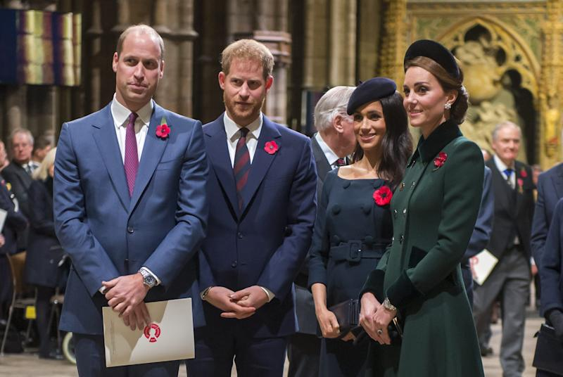 Prince William, Prince Harry, Duchess Meghan of Sussex and Duchess kate of Cambridge attend a service marking the centenary of the end of WWI at Westminster Abbey on Nov. 11, 2018 in London.