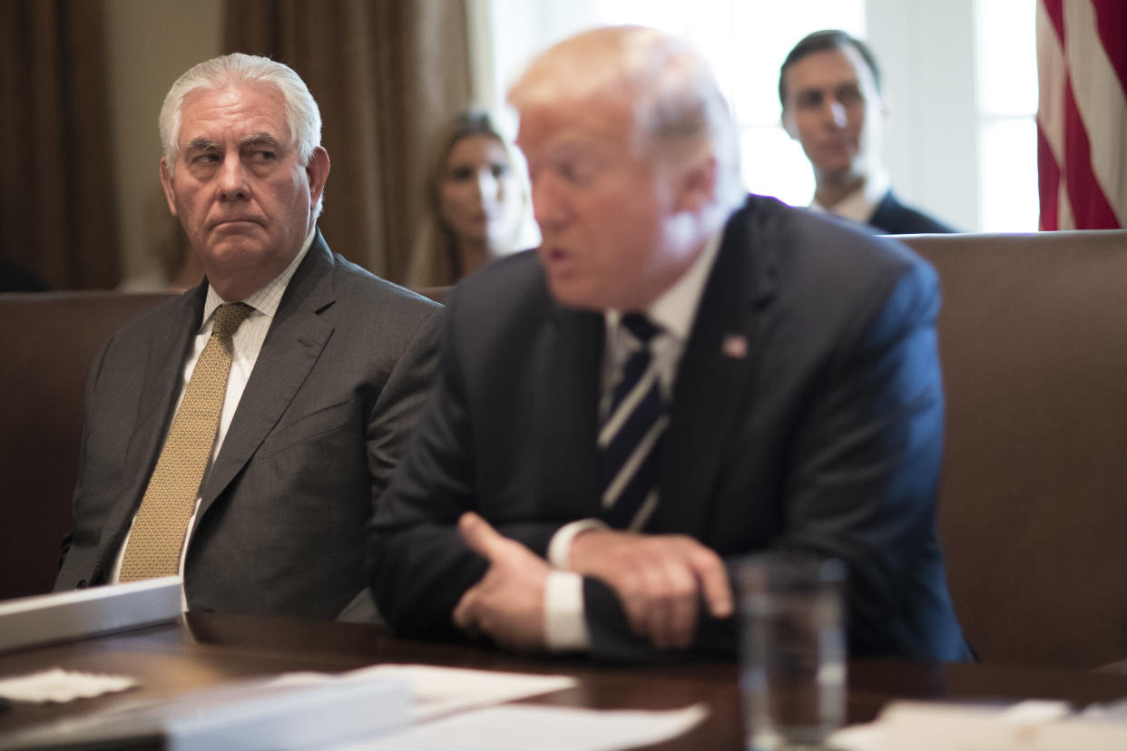 Secretary of State Rex Tillerson listens as President Trump spoke during a Cabinet meeting, at the White House in Washington, Oct. 16, 2017. (Tom Brenner/The New York Times)
