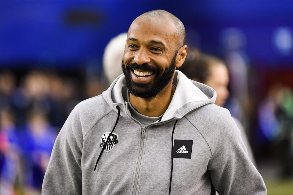 MONTREAL, QC - FEBRUARY 29: Look on Montreal Impact head coach Thierry Henry during the New England Revolution versus the Montreal Impact game on February 29, 2020, at Montreal Olympic Stadium in Montreal, QC  (Photo by David Kirouac/Icon Sportswire via Getty Images)