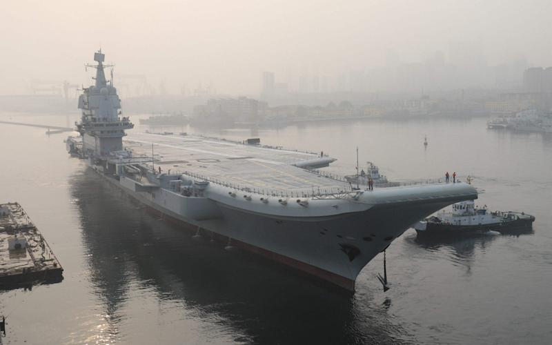 China's first domestically manufactured aircraft carrier, known only as