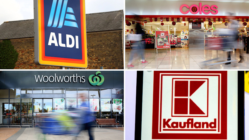 Supermarkets Aldi, Coles, Kaufland and Woolworths. Images: Getty